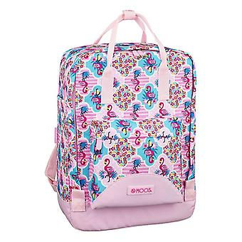 Rucksack with Upper Handle and Compartments Moos Flamingo Pink