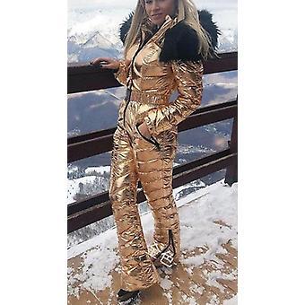 Shiny Silver Gold One-piece Ski Suit Women