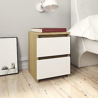 vidaXL tables de chevet 2 pcs. Blanc et sonoma-chêne 30x30x40cm Panneau de particules