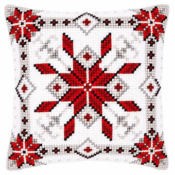 Vervaco Cross Stitch Zestaw: Poduszka: Kryształ śniegu I