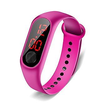 Vaaleanpunaiset digitaaliset kellot silikonihihna