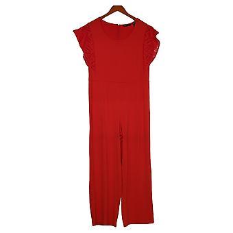 H av Halston Petite Jumpsuits Jersey Wide-Leg One-Piece Red A354287