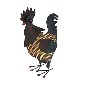 Industrial Farmhouse Brown Metal Rooster Battery Powered Accent Light