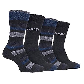 Jeep Mens 4 Pack Performance Boot Socks Outdoors Fully Terry Cushioned Foot