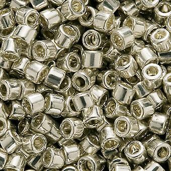 Perline di semi Miyuki Delica, taglia 11/0, 7,2 grammi, argento zincato metallico DB035