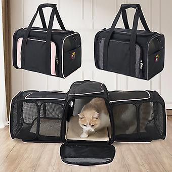 Ny Dual expandabale og bærbare Cat Bag Åndbar Pet Carrier Bag Udendørs Travel Rygsæk til kat og hund Transparent Space