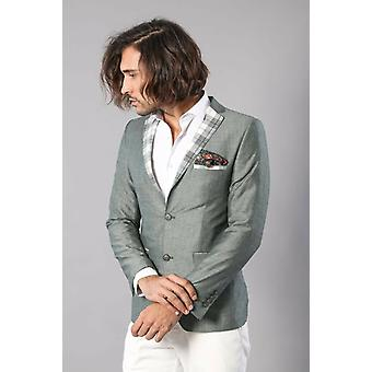 Pocket en kraag geruite mens linnen blazer