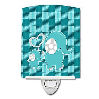 Caroline s Schätze plaid Keramik Nachtlicht, Momma und Baby Elefant, blau, 6 X 4