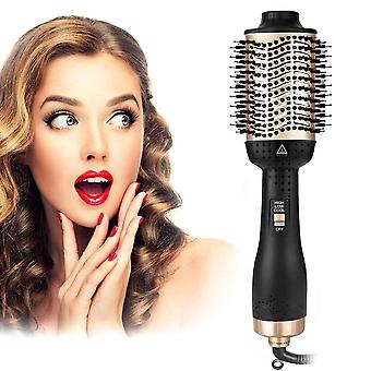 One Step Hair Dryer & Volumizer Hot  Curler Negative Types Styler Comb Brush|Curling Irons(Golden)
