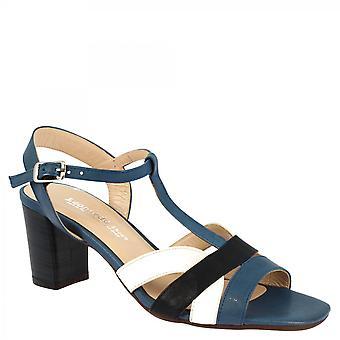Leonardo Shoes Talons faits main femmes sandales en cuir de veau bleu noir et blanc