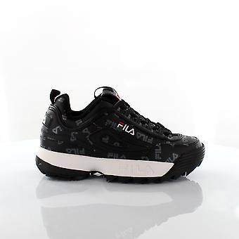 Fila Disruptor Logo Black White Lace Up Casual Womens Trainers 1010748 25Y