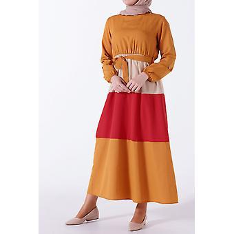 Colorful Hem Belted Dress