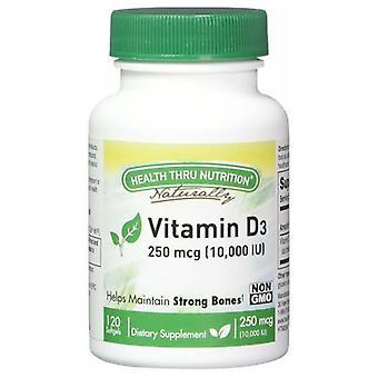 Health Thru Nutrition Vitamin D3, 10000 IU, 120 Softgel