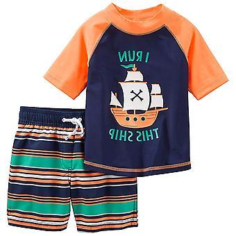 Simple Joys by Carter's Baby Boys' Toddler 2-Piece Swimsuit Trunk and Rashguard, Orange Blue Ship, 2T