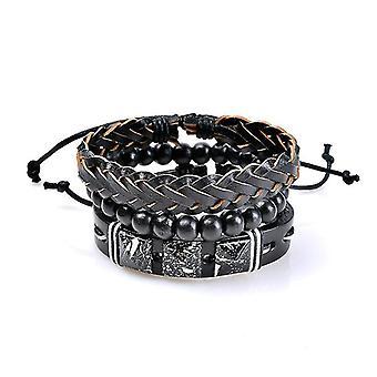 3 Pcs Wholesale Men's Bracelet Vintage Punk Bead Woven Leather Bangle Wristband