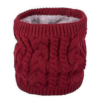 Ζεστό κασκόλ το χειμώνα, πλεκτό κασκόλ για ζευγάρια, καθαρό χρώμα συν βελούδινο μαντήλι (κόκκινο)