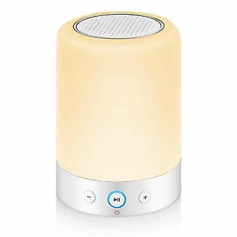 مصباح بجانب السرير الملونة مع مكبر صوت بلوتوث، مصباح المائدة الملونة، هدية للنساء الرجال المراهقين الأطفال،(أبيض)