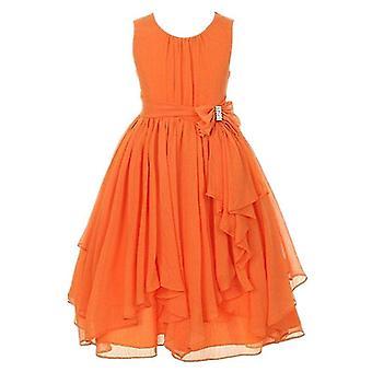 Girls Princess Flower Party Formal Dress Dark Orange 10-12Years