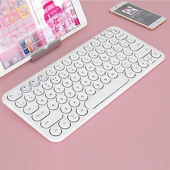 Qwert Bluetooth iPad tangentbordsmusuppsättning för bärbar dator Mini uppladdningsbart magiskt tangentbord (vitt)