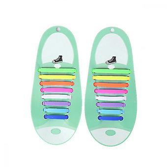 怠惰な靴のひも、子供と大人のためのシリコーンストラップレスレーシング、マルチカラー