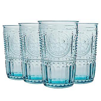 4x Vasos Románticos Highball Decorados Jugo de Agua Vasos de Cóctel 340ml Azul