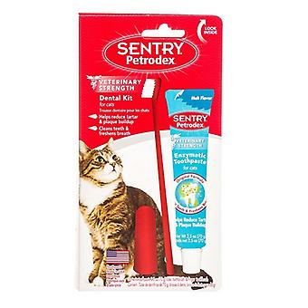 """Petrodex Dental Kit for Cats with Enzymatic Toothpaste - 2.5 oz Toothpaste - 6"""" Brush - Finger Brush"""