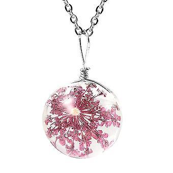 TJC getrocknete Blume Halskette für Womens lila Glas in Edelstahl 1.1ct