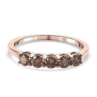 TJC Champagne Diamond I3 Five Stone Ring 9K Rose Gold SGL Certified 0.5ct(Q)