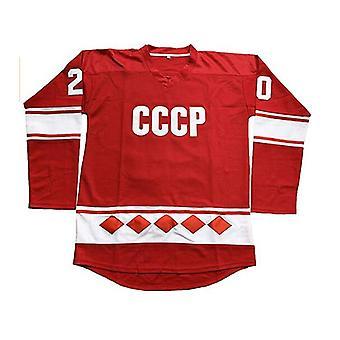 Vladislav Tretiak #20 Cccp 1980 Ussr Cccp Russian Ice Hockey Jersey Rouge