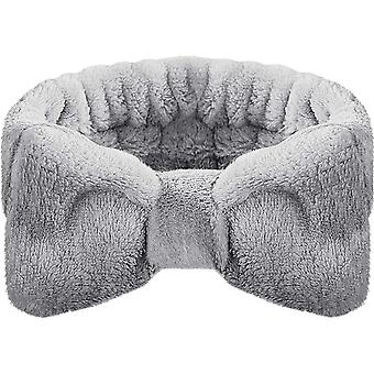 Knotted Headband Gray Soft Makeup Headband Coral Velvet Face Wash Spa Girl Elastic Headband