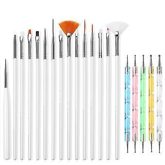 Venalisa Nail Art Brushes Tool With Nail Dotting Pen, Nail Art Brushes Set 15pcs White Nail Brush Painting Pen And 5pcs Mixed Colors Double Ended Acry