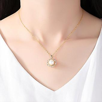 100% 925 Silver Gilt Chain Pearl Necklace Pendant Natural Freshwater Necklaces