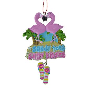 Flamingo Pair with Palms Sandy Toes Salty Kisses Sign Christmas Holiday Ornament