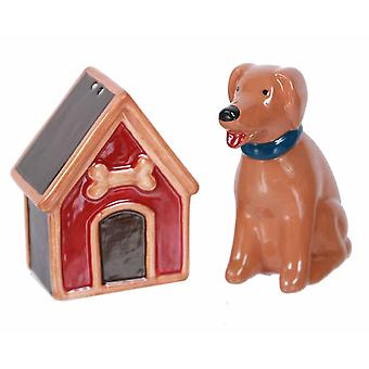 Little Brown Dog with His Dog House Salt and Pepper Shakers Set
