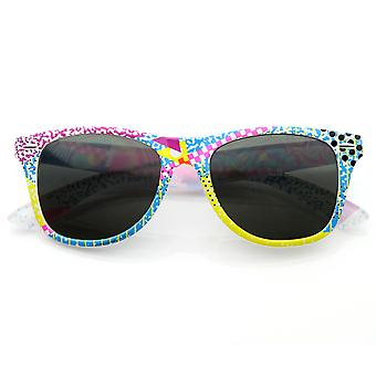 Abstract Geometric Colorful 90's Graffiti Graphics Retro Horn Rimmed Style Sunglasses