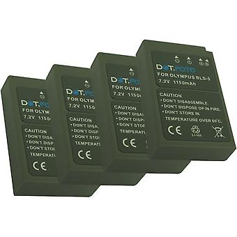 4 x Dot.Foto Olympus BLS-5, BLS-50 Replacement Battery - 7.2v / 1150mAh - 2 Year Warranty