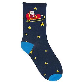 RJM дамы Рождество носки голубые звёзды & сани размер Великобритания 4-7