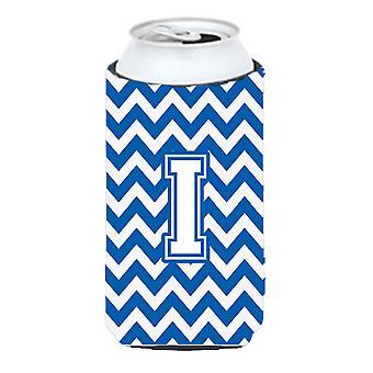 De letter I Chevron blauw en wit hoog Boy drank isolator Hugger