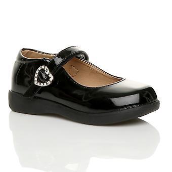 Ajvani girls flat low heel mary jane strap buckle smart school shoes