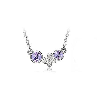 Womens Silver Plated Necklace Jewellery Violet Drop Chain Flower Butterfly