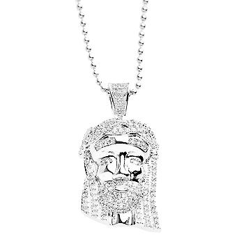 Iced out bling micro collier pave - MINI Jésus II argent