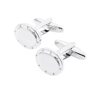 Ovale argento Gemelli Camicia manica stallone bianco vite Button Cuff Link