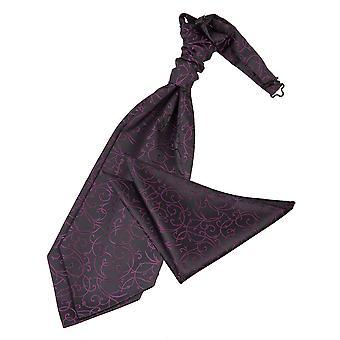 Zwarte & Purple Swirl bruiloft Cravat & zak plein Set
