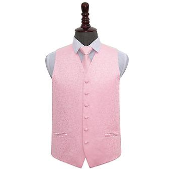 Baby Pink Swirl Wedding Vest & Tie Set