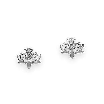 Sterling Silver Scotish Design Thistle 'The Flower of Scotland' Shaped Pair of Earrings - E58