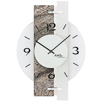 Wall clock quartz analog silver natural stone look with aluminium and glass 40 x 28 cm