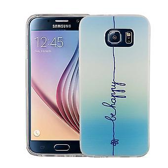 Mobiltelefon tilfældet for Samsung Galaxy S6 dækning case beskyttende taske motiv slim silikone TPU bogstaver være glad blue