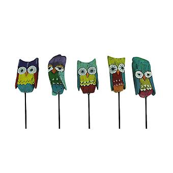 Colorful Whimsical Owl Art Garden Stake Set of 5