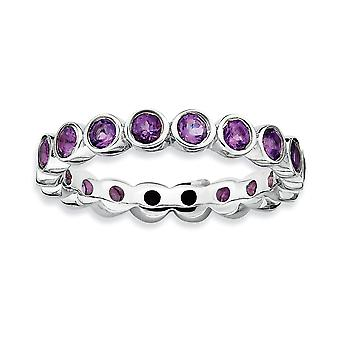 925 Sterling Silver Bezel Polished Patterned Rhodium plated Stackable Expressions Amethyst Ring Jewelry Gifts for Women