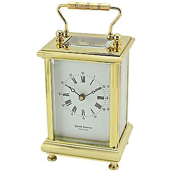 David Peterson Boite 8 Day Mechanical Carriage Clcok - Gold